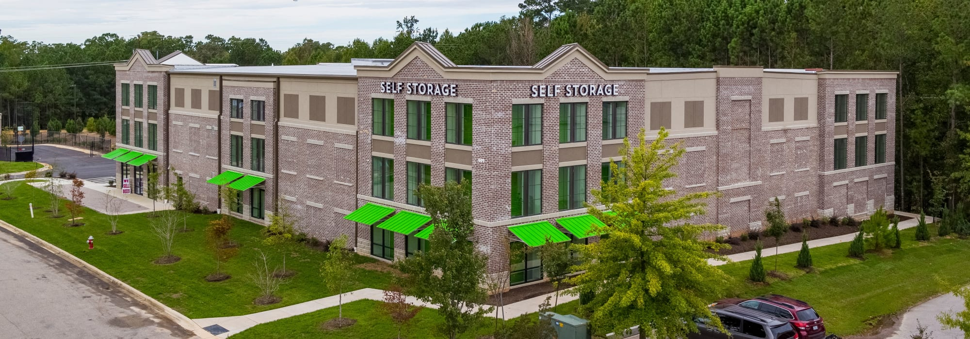 Exterior shot of Space Shop Self Storage in Cary