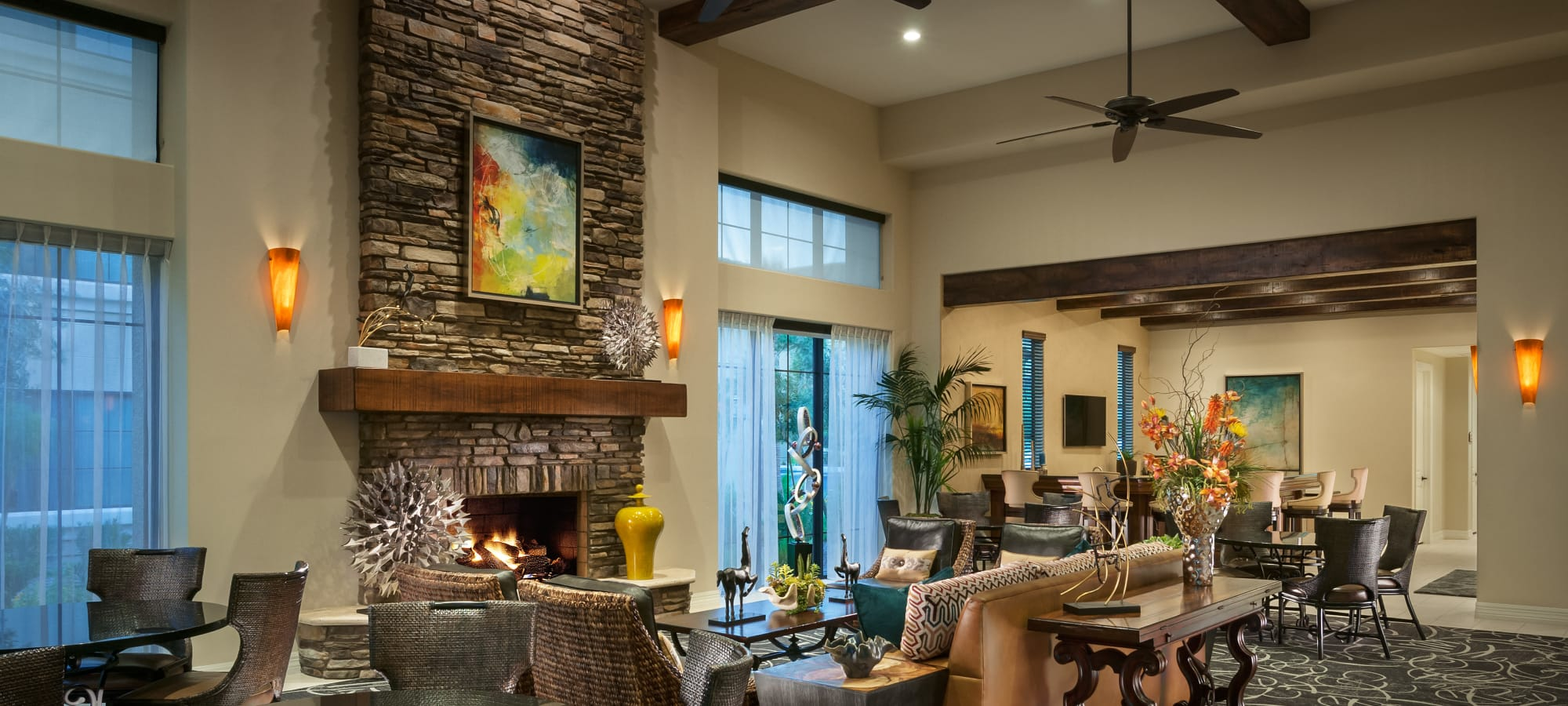 Interior view of the lavish resident clubhouse at San Milan in Phoenix, Arizona