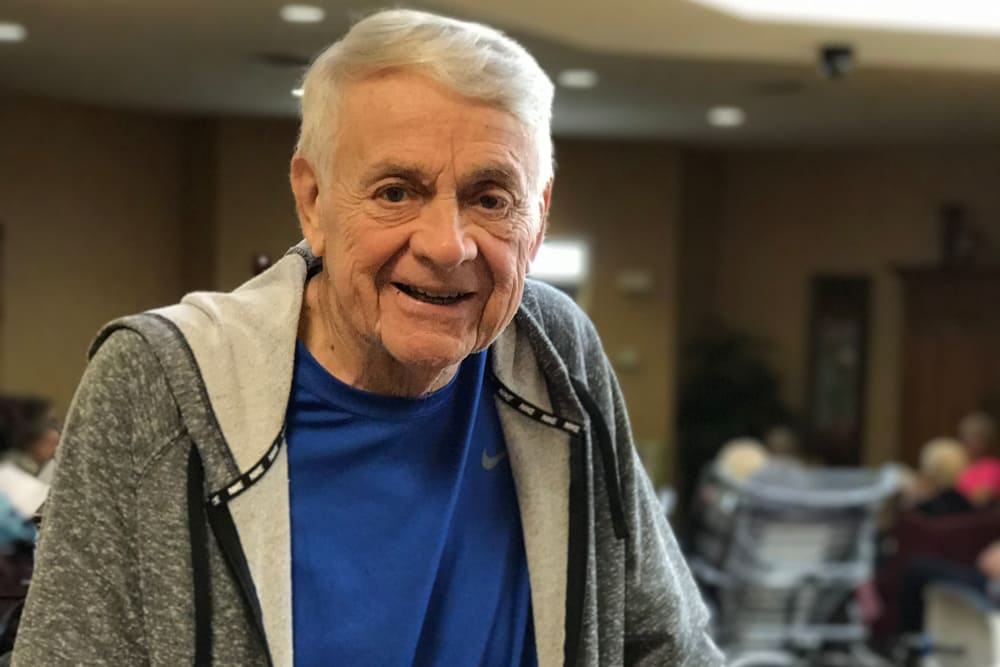 Male resident with a smile on his face at Scenic Hills Care Center in Ferdinand, Indiana