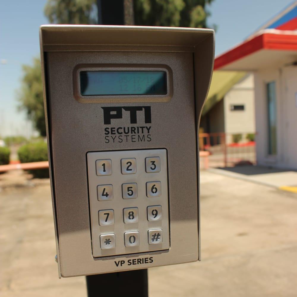 Security keypad at Trojan Storage in Tempe, Arizona