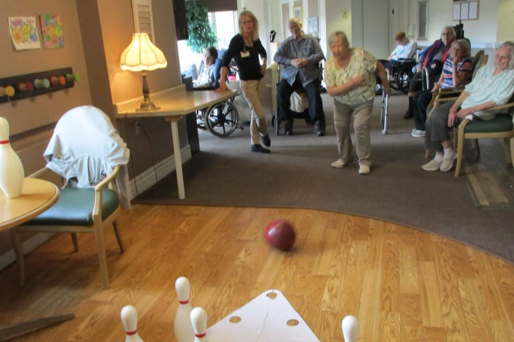 Residents bowling at The Woods of Caledonia in Racine, Wisconsin