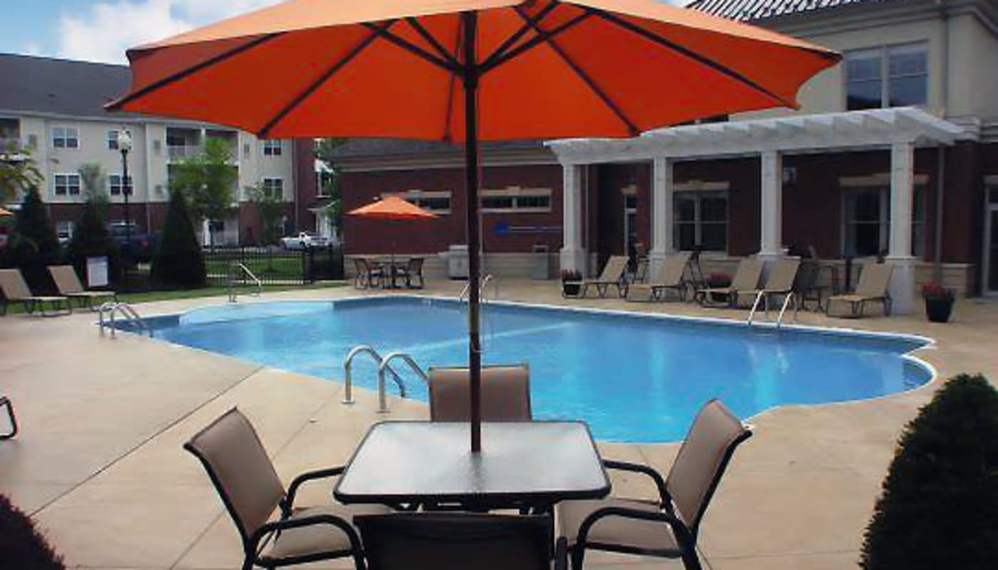 Pool and patio at Marquis Place in Murrysville, Pennsylvania