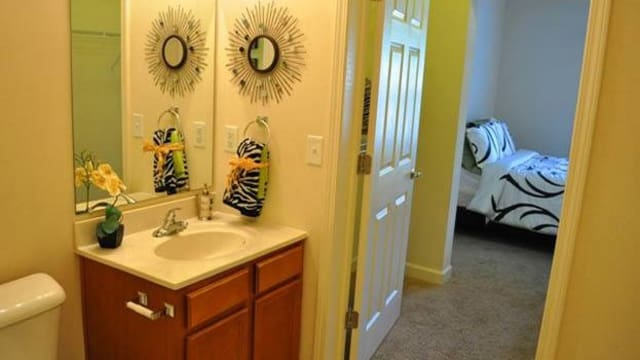 Updated master bathroom at the apartments for rent in Pavilion at Plantation Way