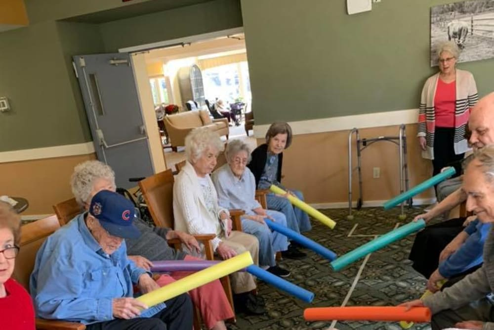 Residents playing a game at The Country House in Westchester in Yorktown Heights, New York