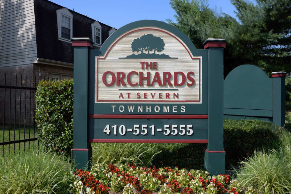 Apartment sign at The Orchards at Severn in Severn, Maryland