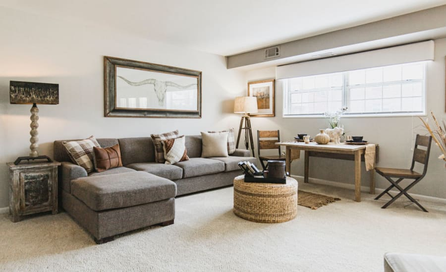 A cozy living room at Westgate Apartments & Townhomes in Manassas, Virginia