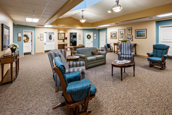 A memory care common room at Touchmark at Meadow Lake Village in Meridian, Idaho.