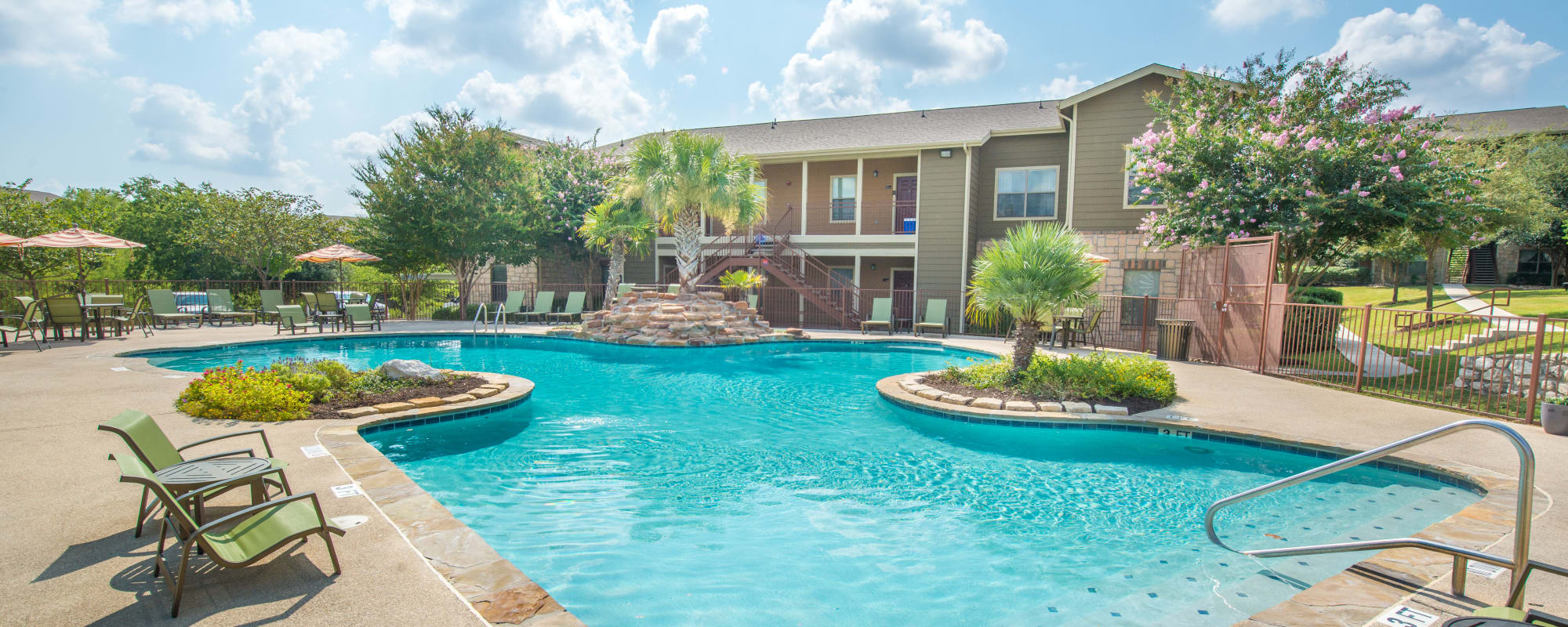 Newly renovated swimming pool at Arya Grove in Universal City, Texas