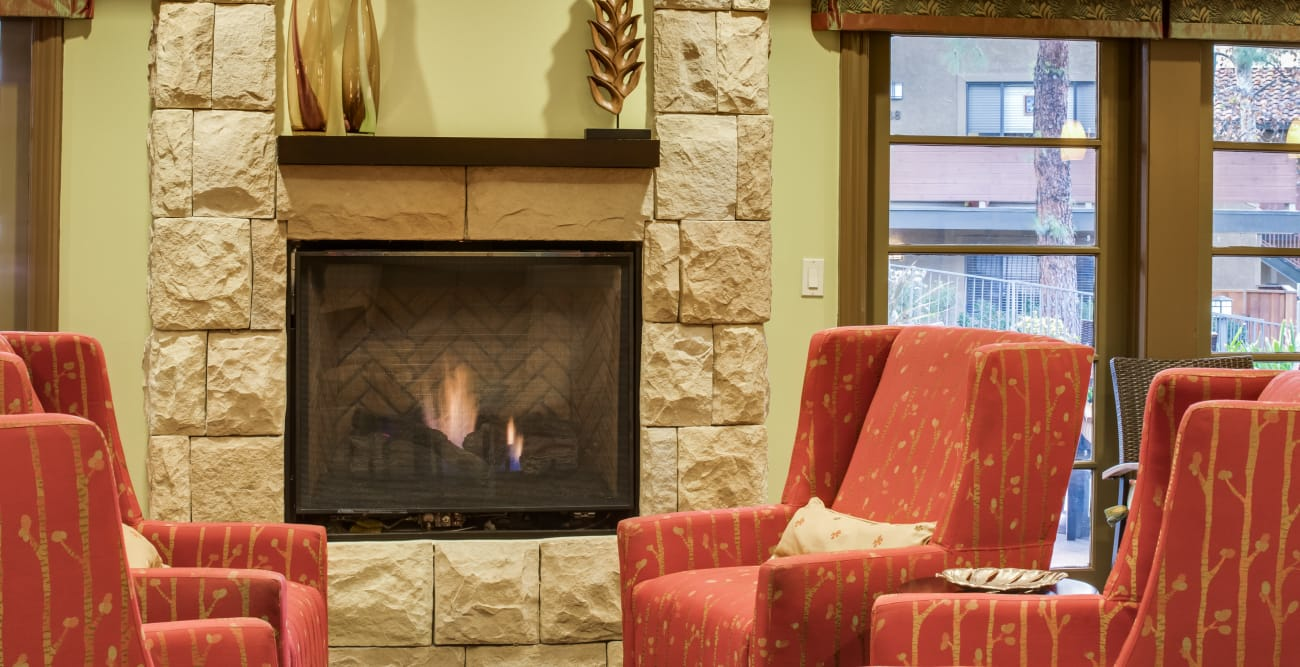 Living room with fireplace at The Reserve at Thousand Oaks in Thousand Oaks, California