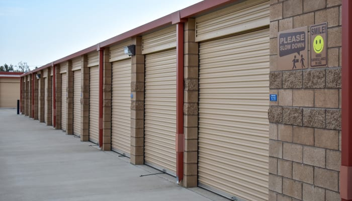 The exterior of units at STOR-N-LOCK Self Storage in Redlands, California