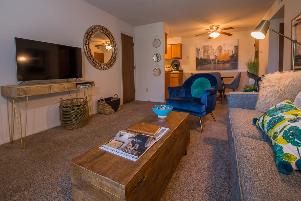 Wonderful living room at Silver Springs Apartments in Wichita, Kansas