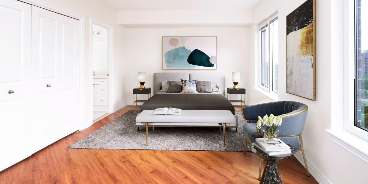 Beautiful model bedroom at 50 Laurier in Ottawa, Ontario