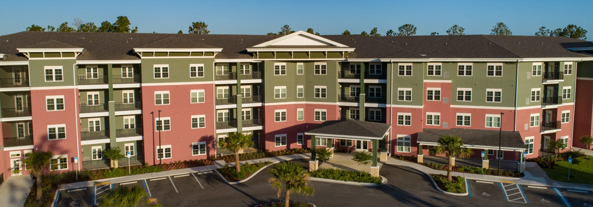 Exterior of main building at Keystone Place at Terra Bella in Land O' Lakes, Florida.