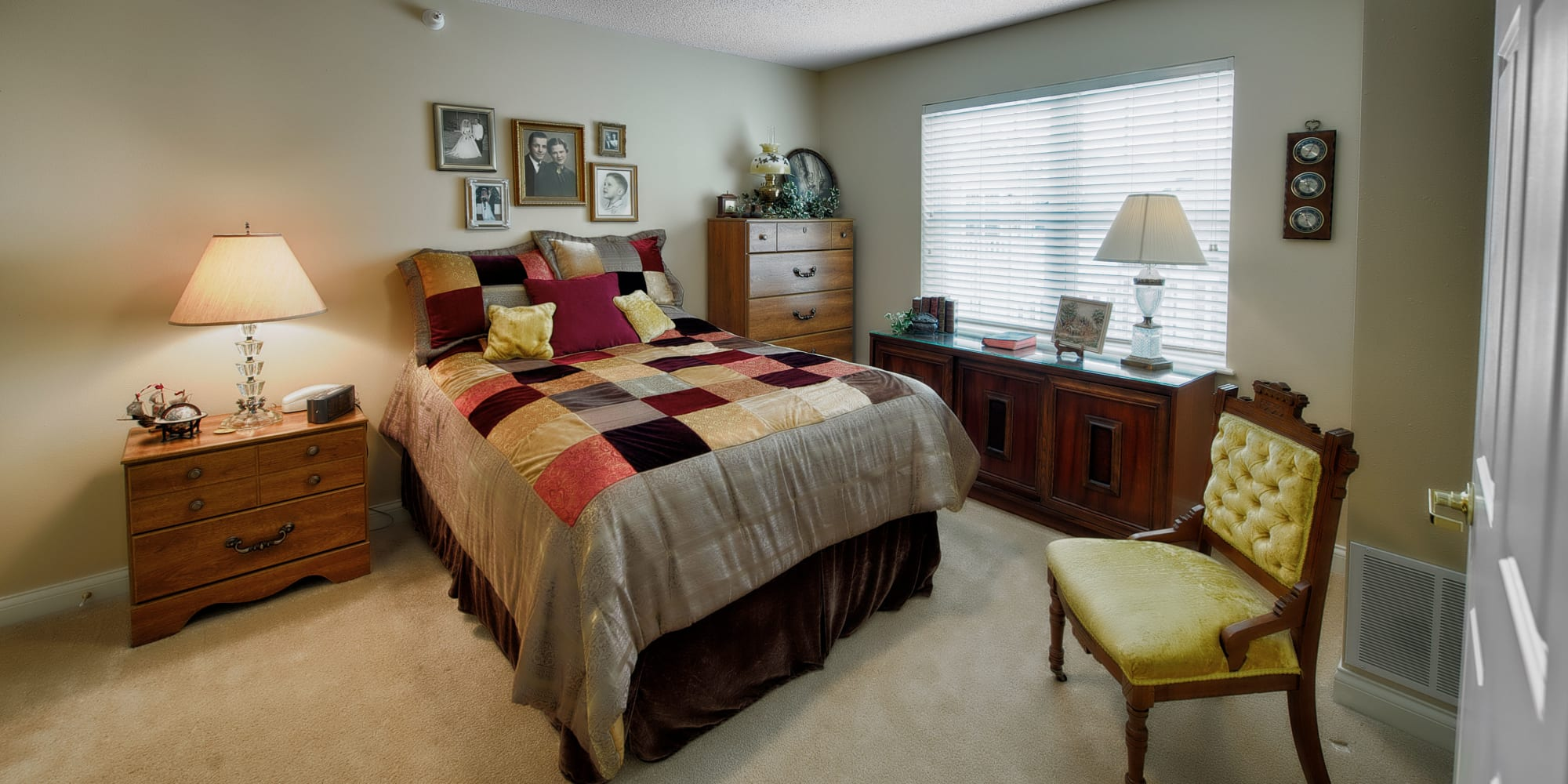 Resident bedroom at The Keystones of Cedar Rapids in Cedar Rapids, Iowa.