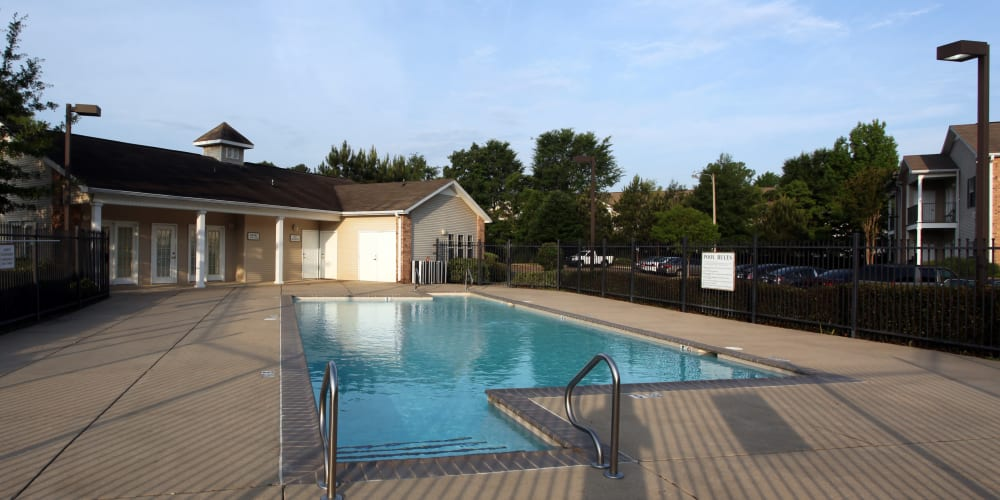 Fenced in community pool at Highland Park Apartments in Jackson, Mississippi