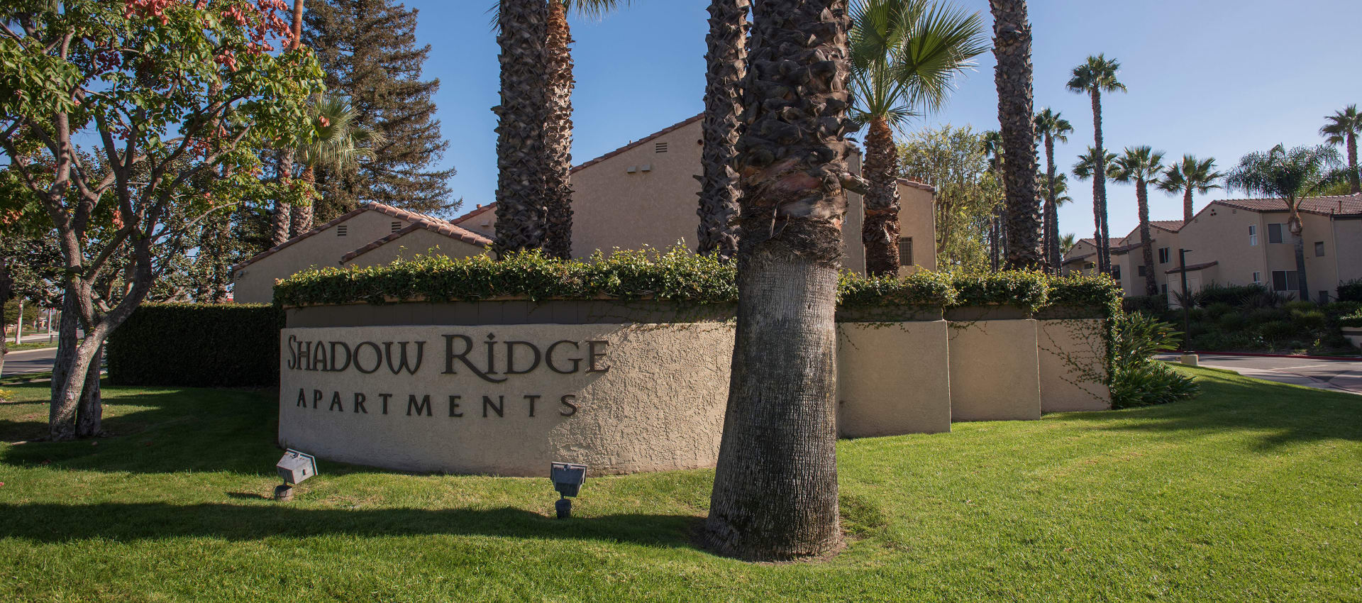 Front sign at Shadow Ridge Apartment Homes in Simi Valley, California