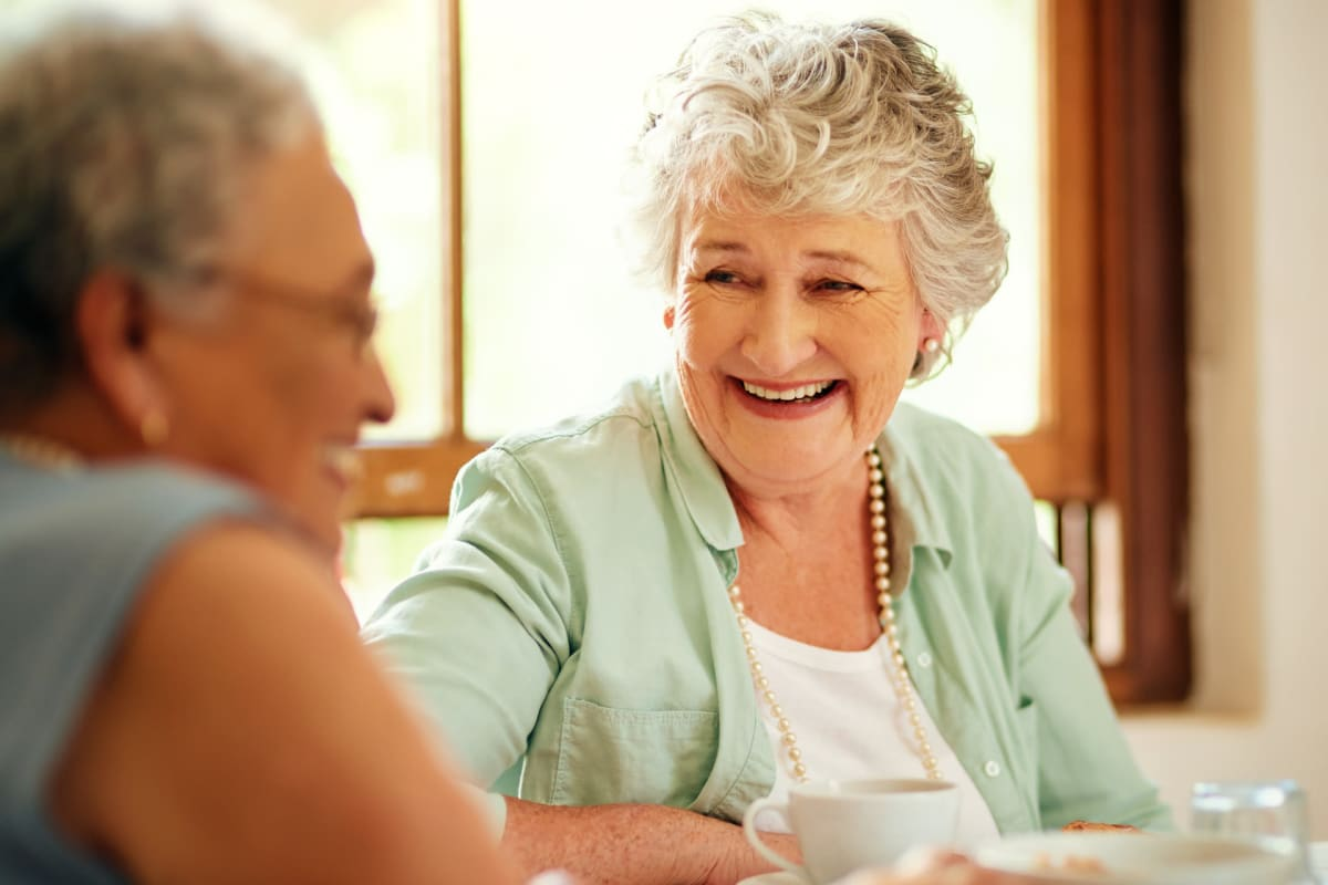 Two residents talking at Ashbrook Village in Duncan, Oklahoma
