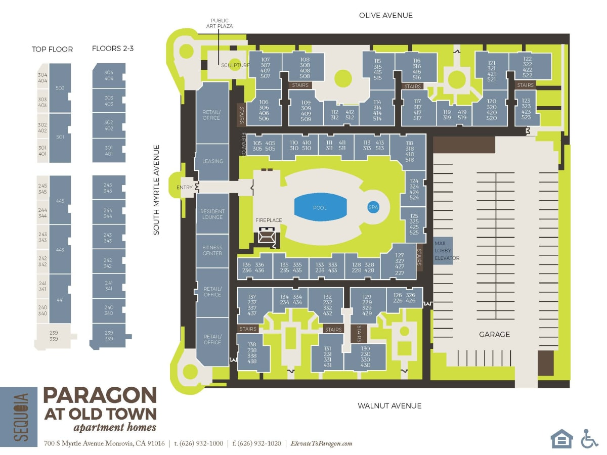 Community site map for Paragon at Old Town in Monrovia, California