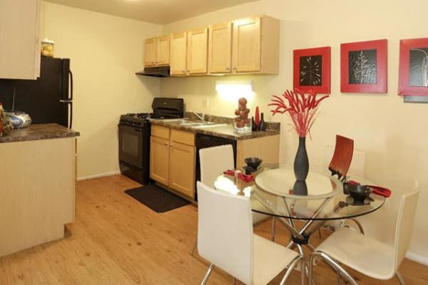 Kitchen View and Dining Room of Riverstone Apartments in Bolingbrook, Illinois