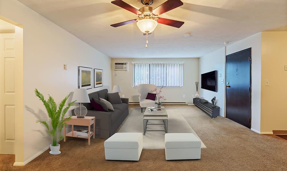Spacious living room at apartments in Pittsburgh, Pennsylvania