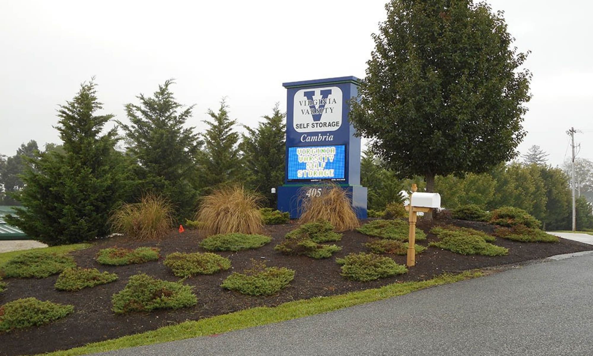 The landscaped front entrance of Virginia Varsity Storage in Christiansburg, Virginia