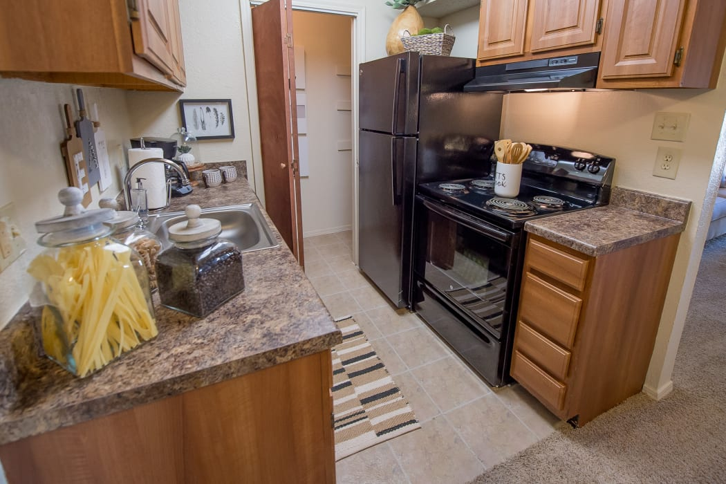 Fully equipped kitchen at Sunchase Apartments in Tulsa, Oklahoma