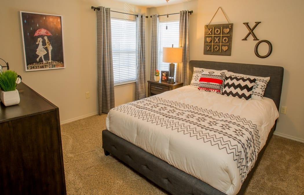 Bright bedroom at Tuscany Ranch in Waco, Texas