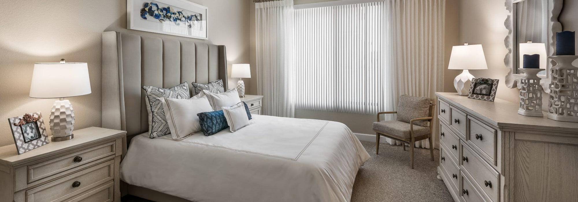 Spacious bedroom with carpet floors San Artes in Scottsdale, Arizona