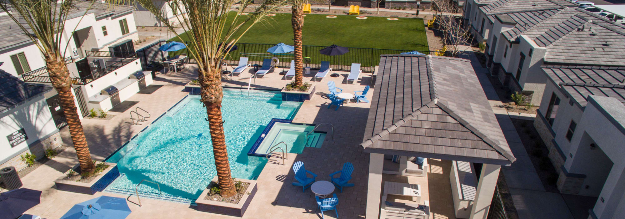 Aerial view of our pool area at Christopher Todd Communities at Country Place in Tolleson, Arizona