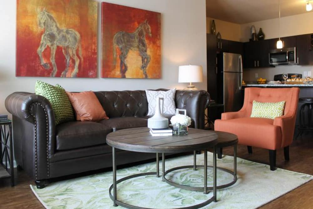 Spacious living room at Springs at Forest Hill in Shelby County, Tennessee