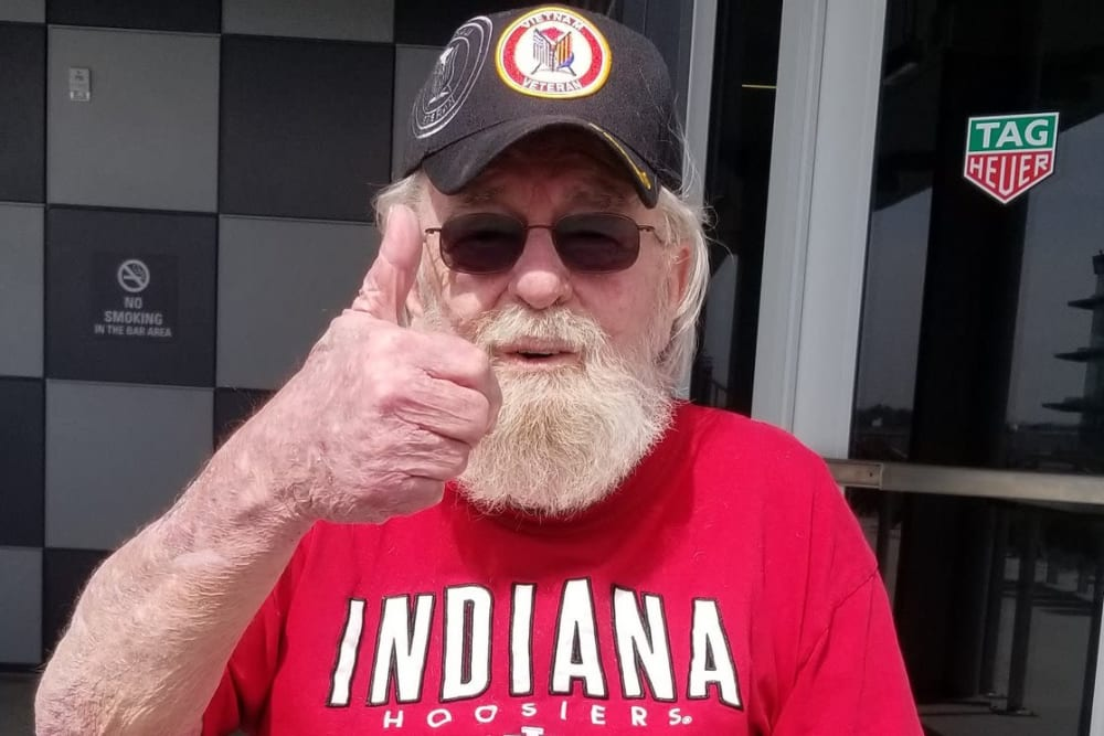 A resident giving a thumbs up at Ashford Place Health Campus in Shelbyville, Indiana