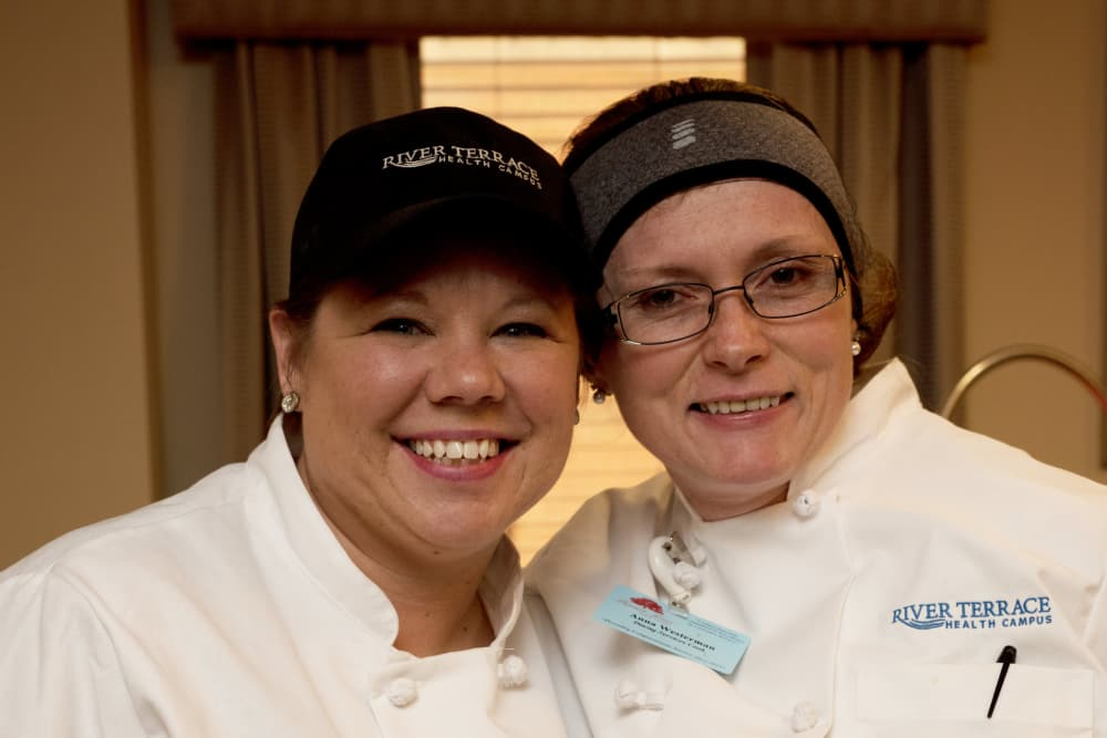 Two chefs from River Terrace Health Campus in Madison, Indiana