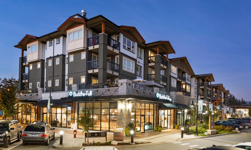 Exterior of Northwoods Village at night in North Vancouver, British Columbia
