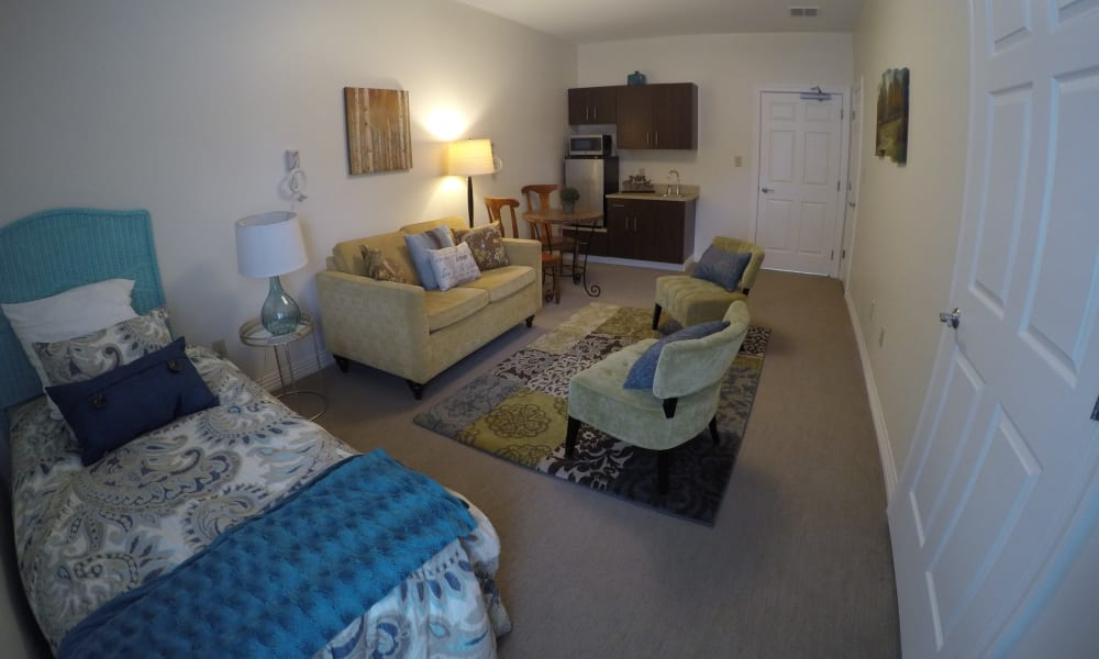 A studio apartment floor plan at Heritage Green Assisted Living in Mechanicsville, Virginia
