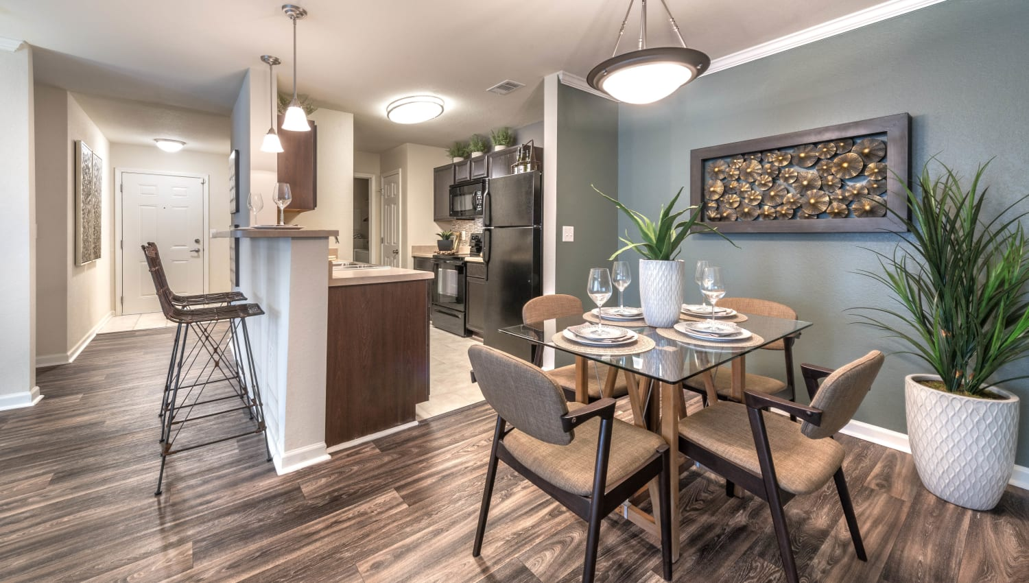 Model home's dining area at Olympus Hillwood in Murfreesboro, Tennessee