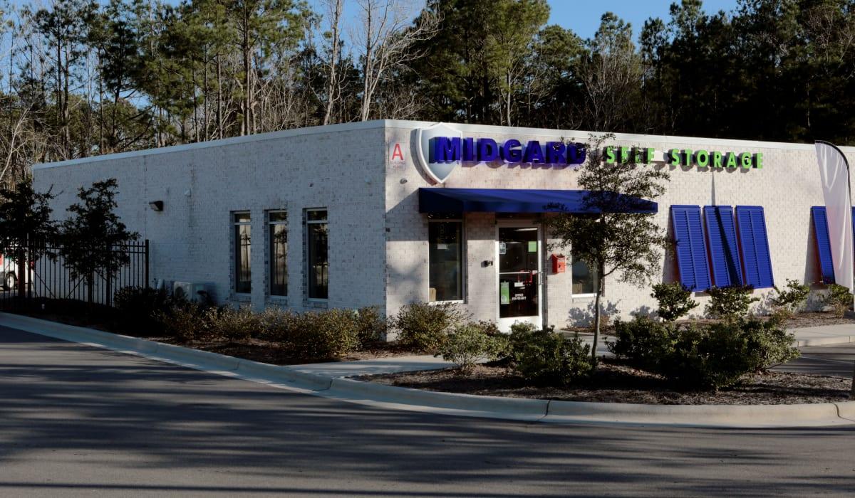 Front of Midgard Self Storage in Wilmington, North Carolina