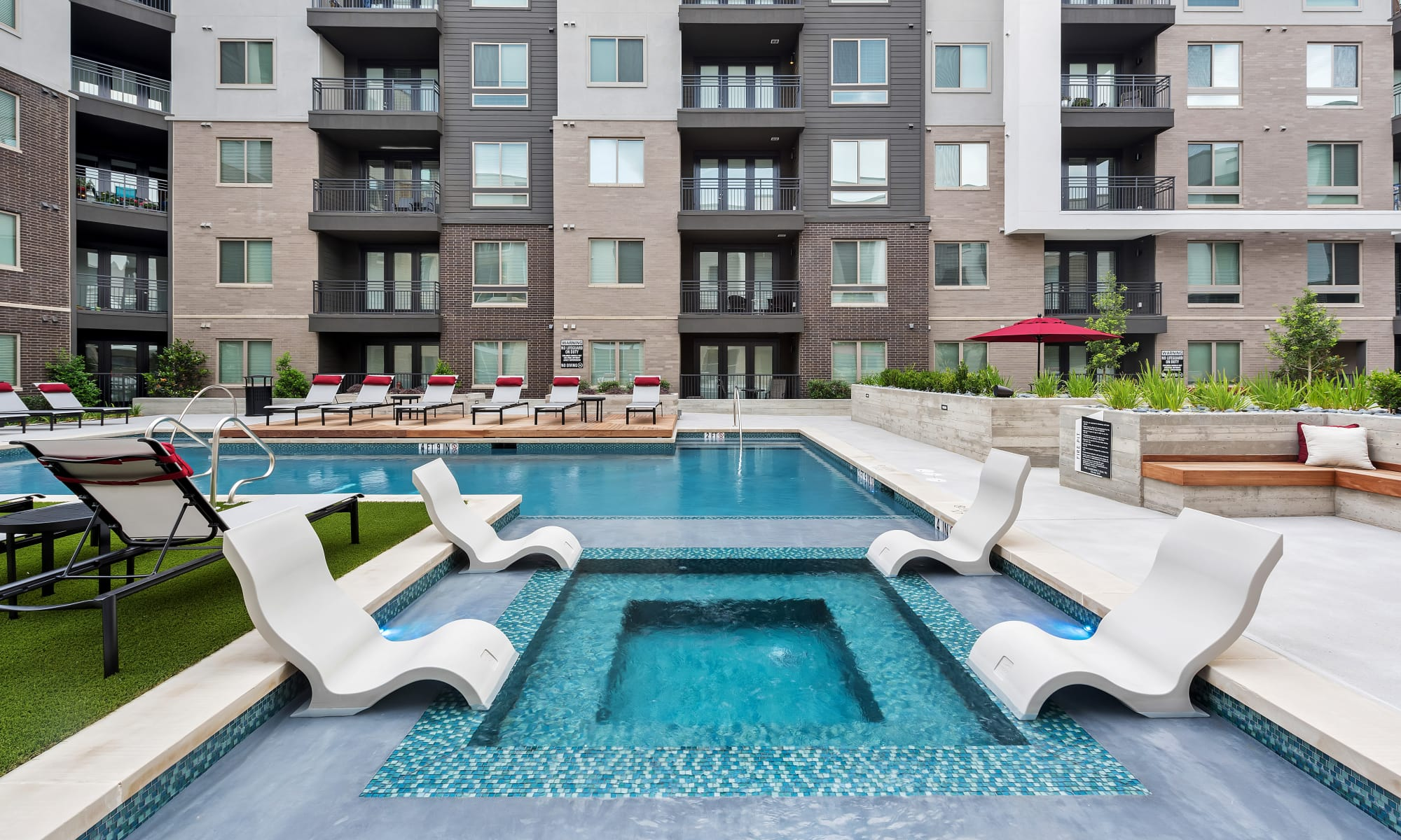New renovated swimming pool at Aura 5515 in Dallas, Texas