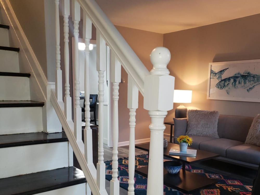 Updated banister at Encore 99 in East Haven, Connecticut