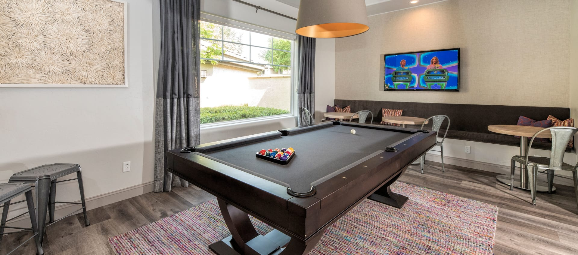 The Artisan Apartment Homes offers a pool table room in Sacramento, California