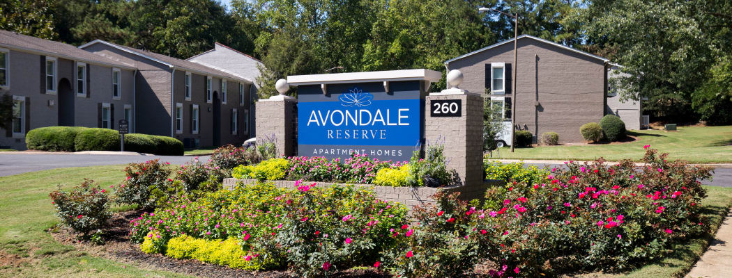 Welcome sign at Avondale Reserve in Avondale Estates, GA