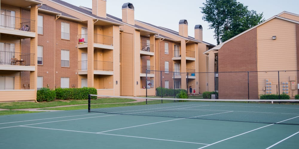 Onsite tennis courts at Windsail Apartments in Tulsa, Oklahoma