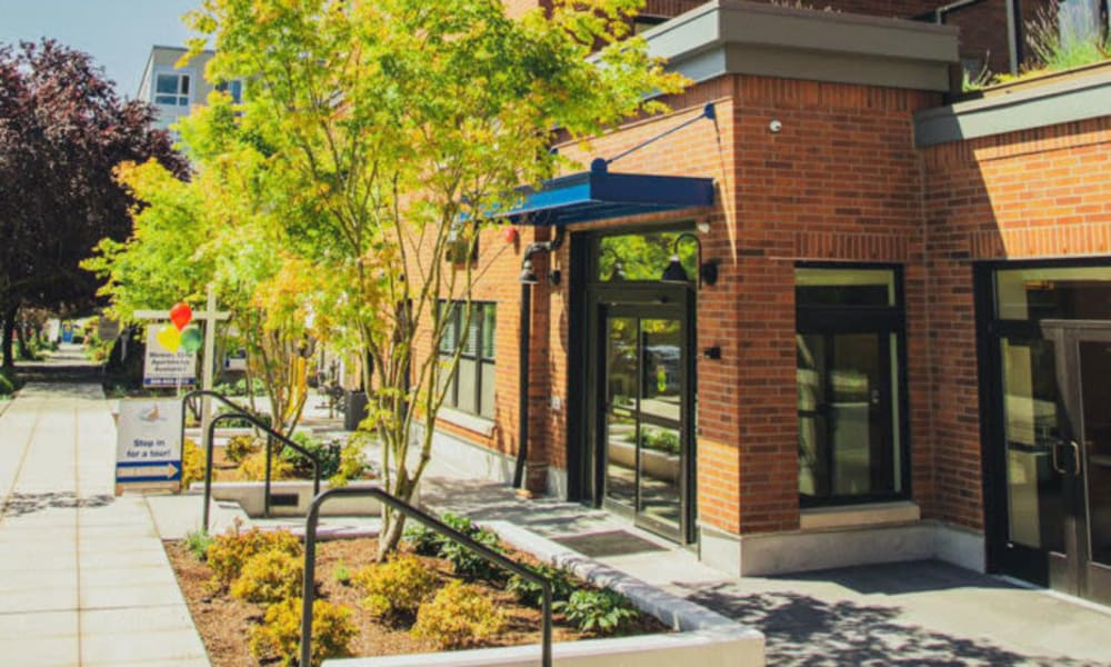 Street level entrance to Quail Park Memory Care Residences of West Seattle in Seattle, Washington