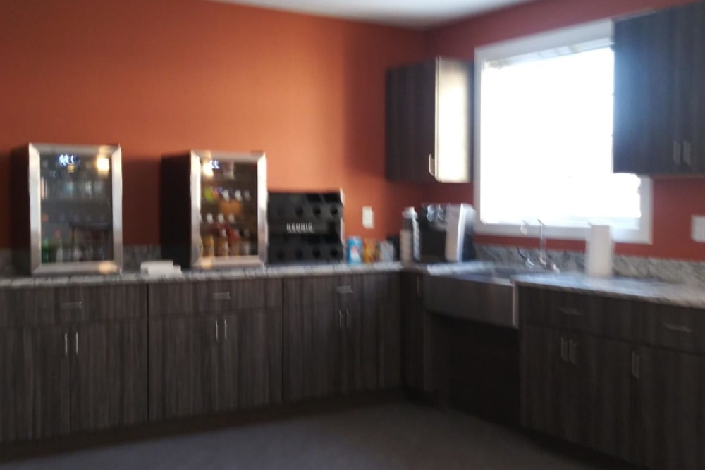 Community kitchen for residents at Arlington Place of Red Oak in Red Oak, Iowa