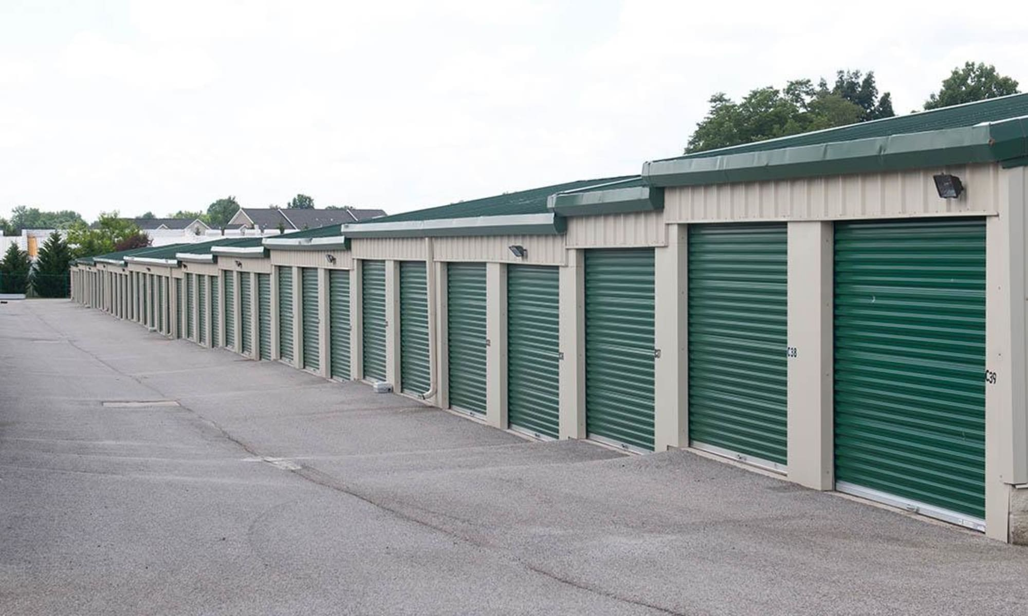 Outdoor units and a wide driveway at Virginia Varsity Storage in Christiansburg, Virginia