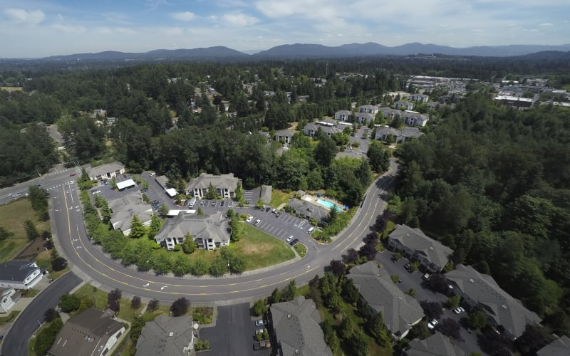 Aerial view of the property at Pebble Cove Apartments in Renton, Washington