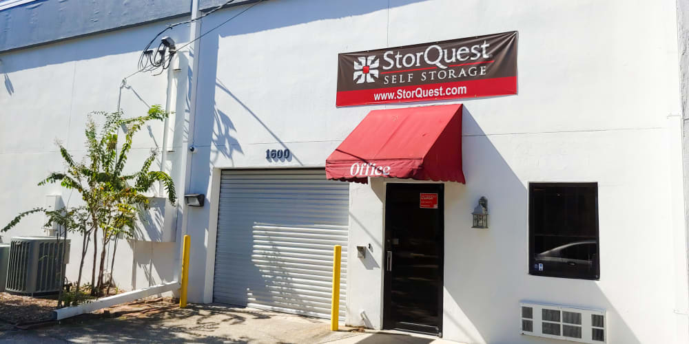 Exterior of the entrance to StorQuest Express - Self Service Storage in Tampa, Florida
