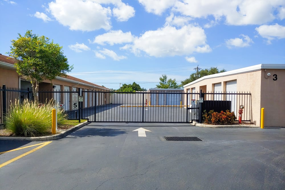 Gated entrance at StorQuest Self Storage in Sarasota, FL