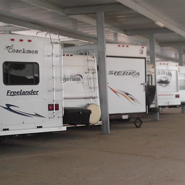 Covered RV storage at StorQuest RV and Boat Storage in Moreno Valley, California