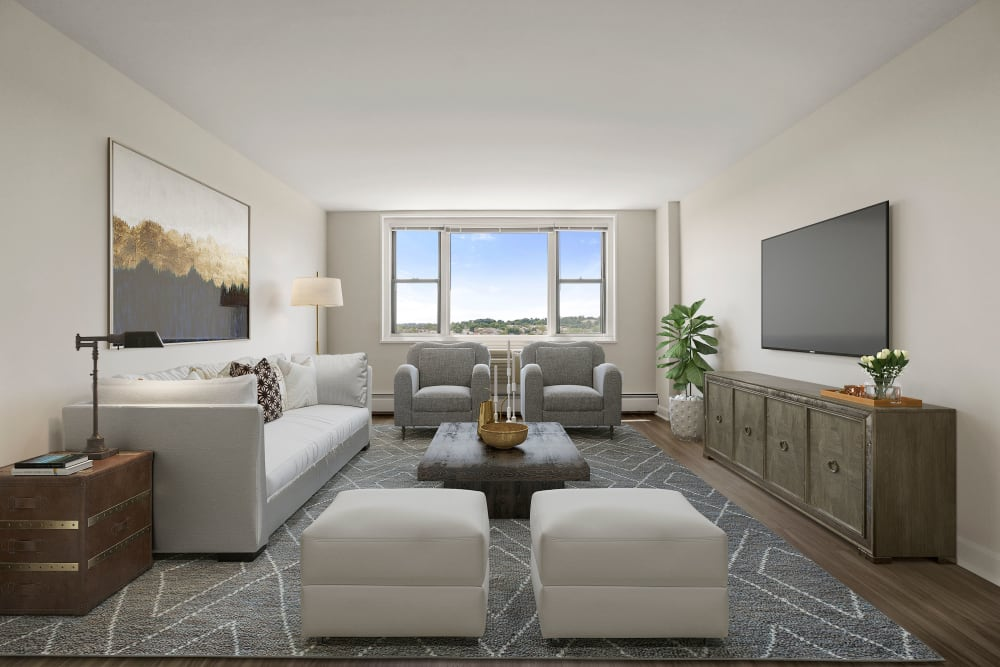 Living Room at Parkside Place in Cambridge, Massachusetts