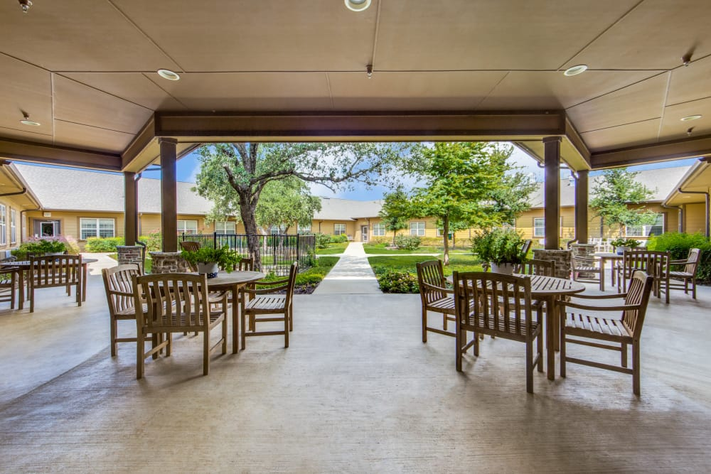 Community area with views at The Landing at Stone Oak in San Antonio, Texas